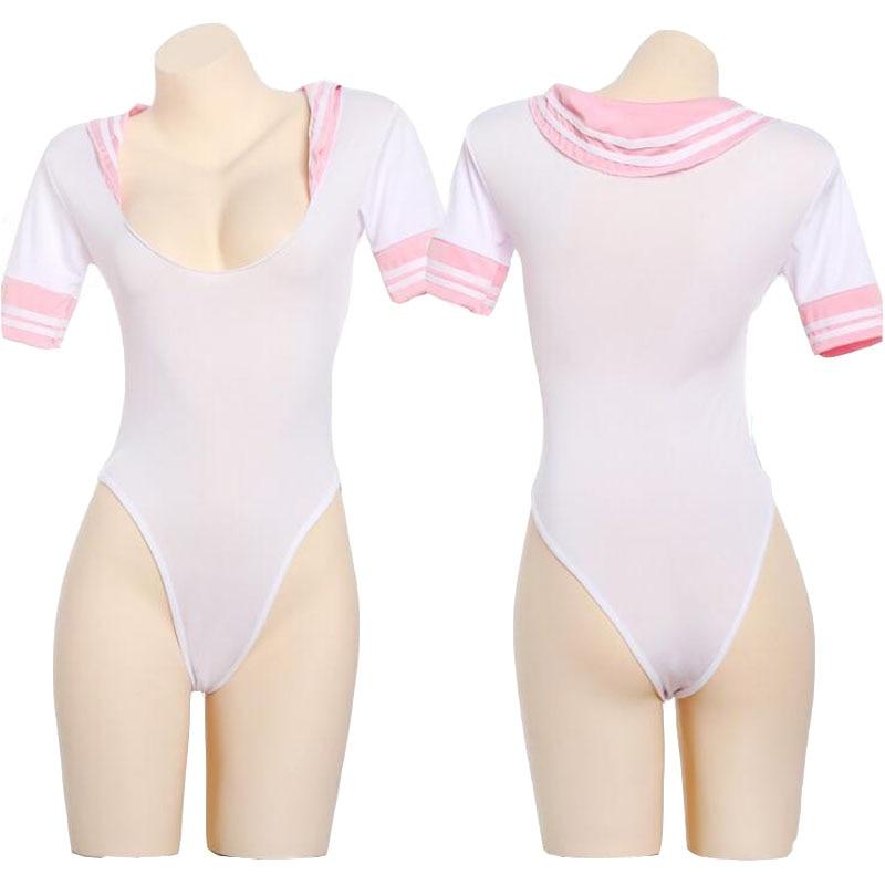 Teddy School Girl Uniform Womens Open Crotch Bodysuit Dress Tops Cosplay Costume