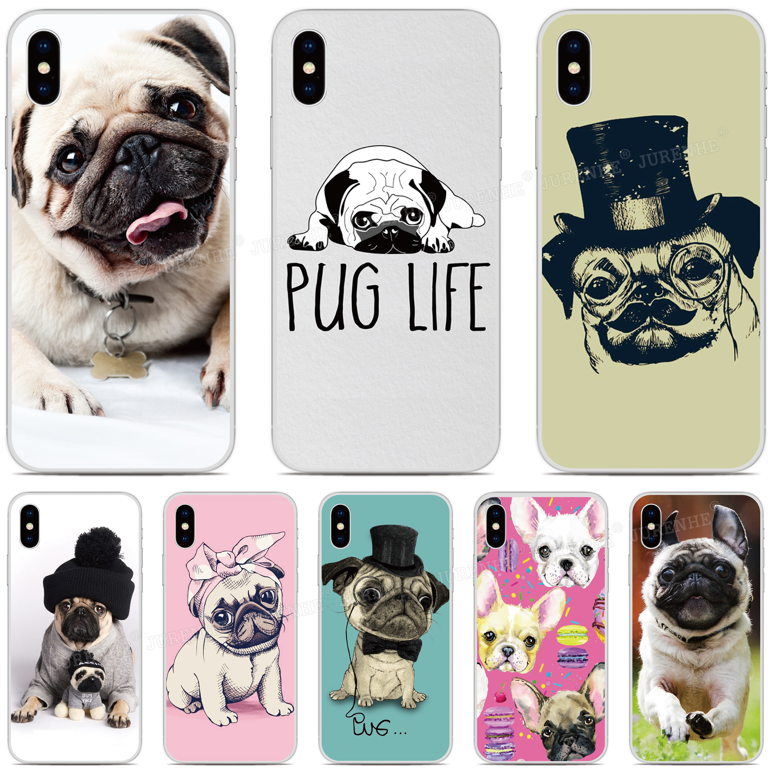 Soft TPU Pug Puppy Dog Pattern Phone <font><b>Case</b></font> For <font><b>Doogee</b></font> X90 N20 Y9 Plus N10 Y7 Y8 Y8C <font><b>X70</b></font> X60 X60L X50 X50L X30 X55 <font><b>Silicone</b></font> Cover image