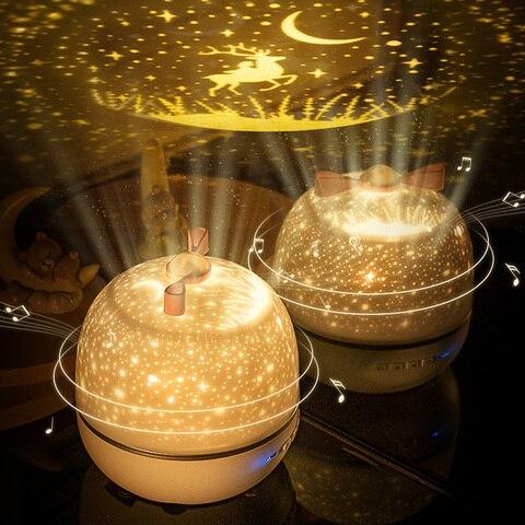 luz da noite rotatable estrela musica lampada do projetor lampada noite conexao bluetooth quarto lampada