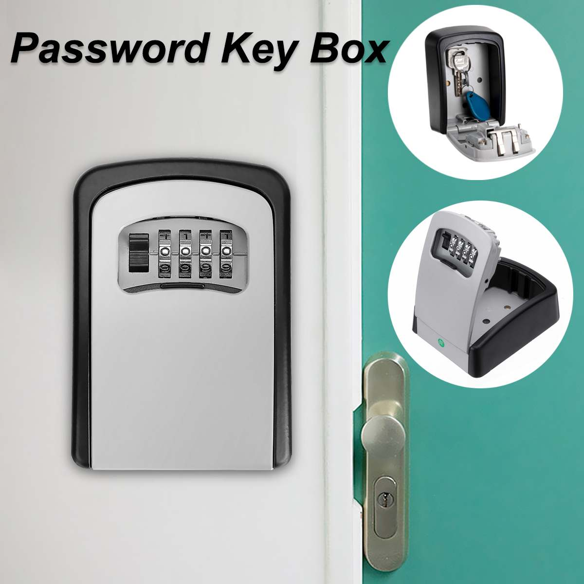 4 Digit Wall-mounted Curved Key Card Password Box Master Key Box Password Lock Decorated Cipher Key Box