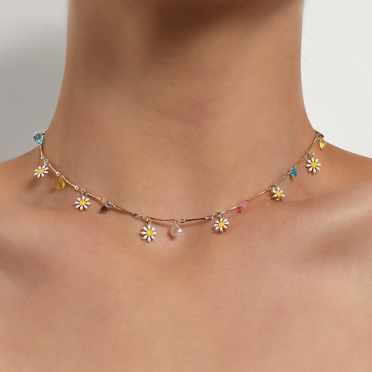 Новые корейские милые цветы ромашки разноцветные бусы браслеты с подвесками заявление короткое колье для женщин, изготовлено вручную укра...