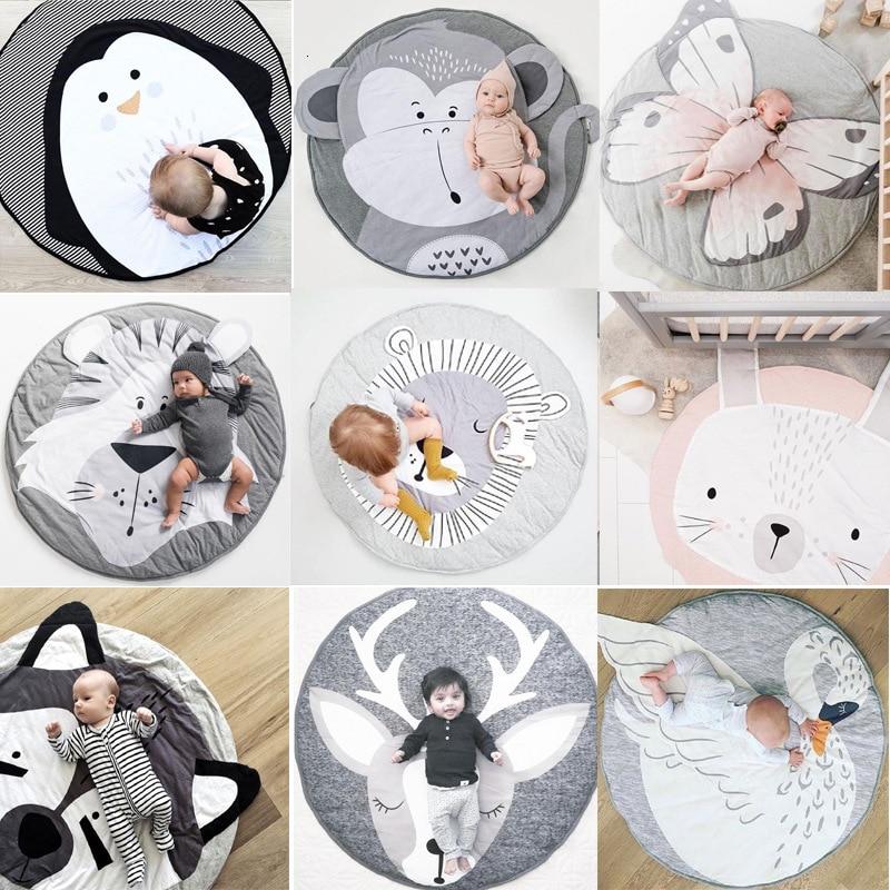 Cartoon Baby Play Mats Pad Toddler Kids Crawling Blanket Round Carpet Rug Toys Mat For Children Room Crawl Newborn Photo Props