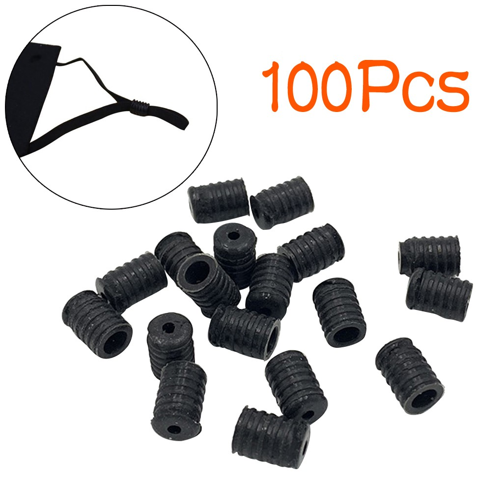 Black Cord Locks Silicone Toggles for Drawstrings Elastic Cord Rope Adjuster Non Slip Stopper Adjustment Buckle