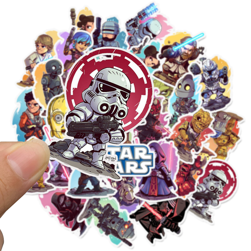 Kawaii Cartoon Star Wars Waterproof Suitcase PVC Adhesive Stickers DIY Decoration Diary Stationery Stickers Children Gift