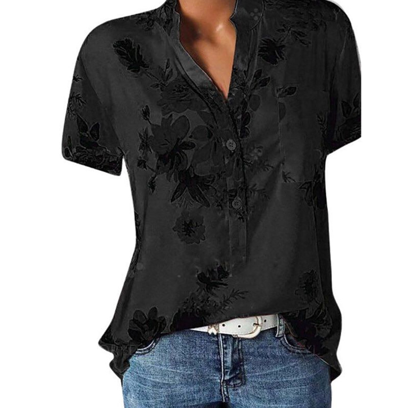 Temperament new women's shirt printing large size casual shirt loose V-neck short-sleeved shirt blouse