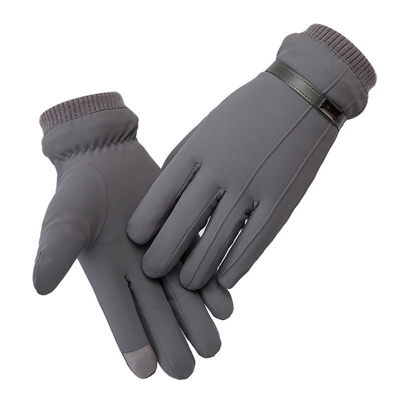 Winter Men's Gloves Thickened Rain Ski Warm And Windproof Gloves Outdoor Riding Bicycle Cold Cotton Gloves Snowboard Gloves Gray