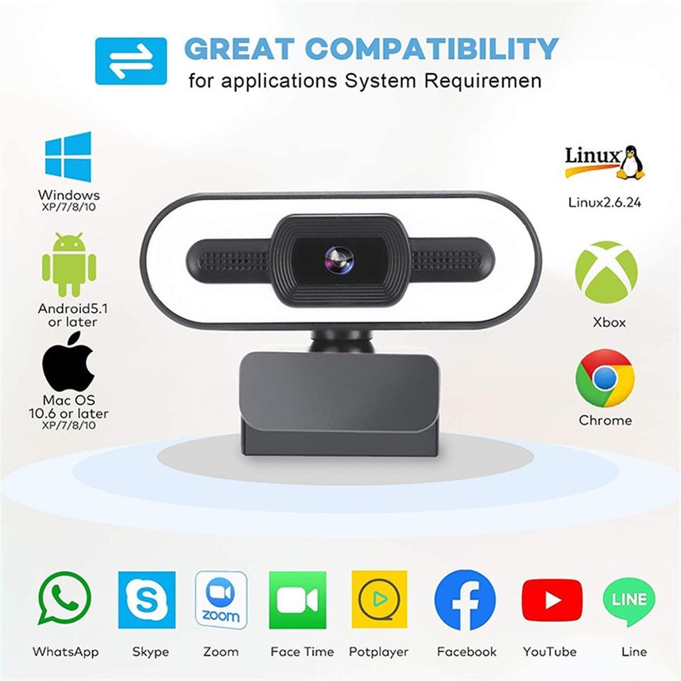 Taida Full HD 1080P 2K 4K Webcam Auto Focus Fill Light Web Camera With Microphone Live Broadcast USB Computer PC Web Cam