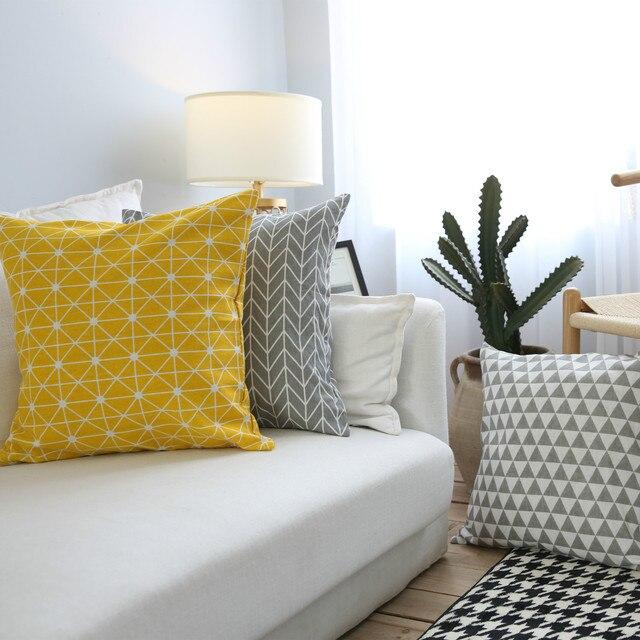 Фото чехол для подушки простой геометрический чехол диванной в клетку цена