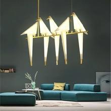 Hanging-Lamp House-Lights Origami-Bird-Light Bird-Cage Paper Bedroom Kitchen Gold Living-Room