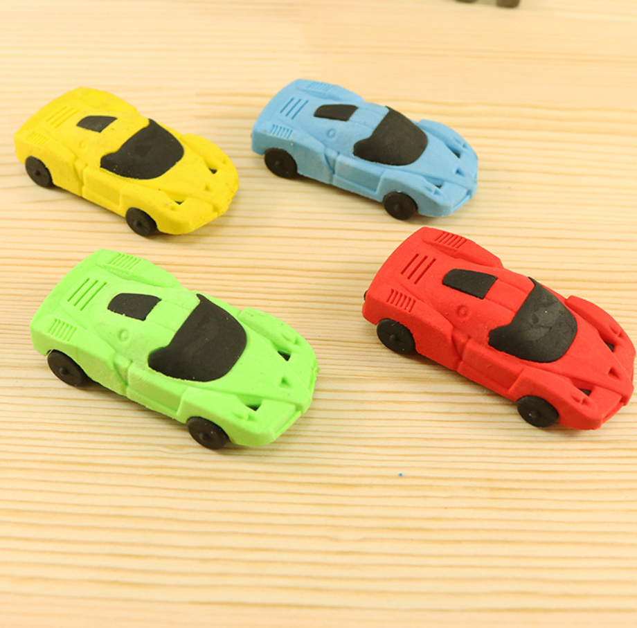 2pcs Little Car Rubber Pencil Eraser Stationary School Supplies Items Kawaii Office Creative Cartoon Kids Gift Students Prizes