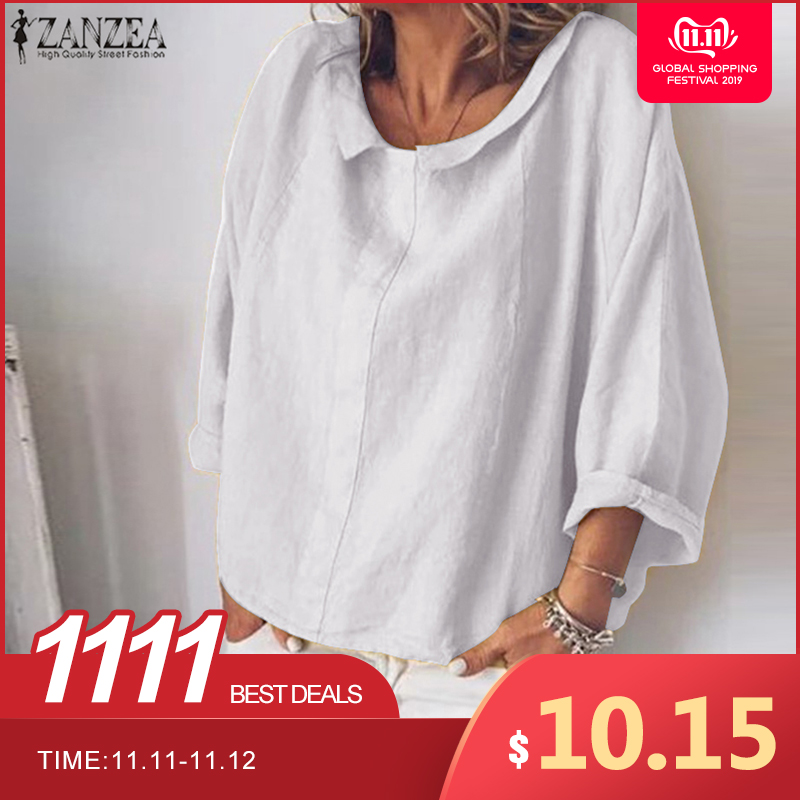 ZANZEA Autumn Shirt Fashion Women Long Sleeve Cotton Linen Blouse Casual Lapel Neck Tops Robe Solid Blusas Femme Work Chemise