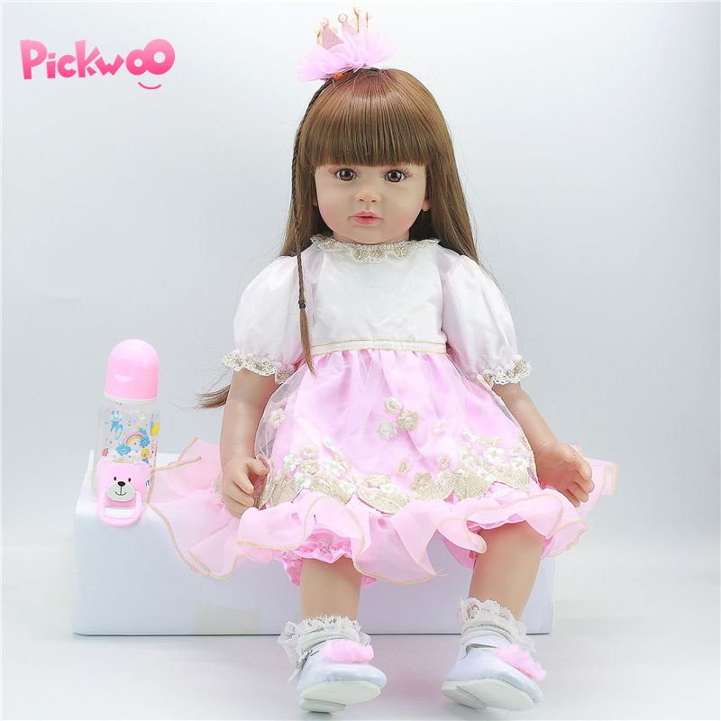 Pickwoo <font><b>24inch</b></font> 60cm Newborn Reborn baby Bebes Doll Lifelike Toy Princess Vinyl Cotton Body Baby Doll With Girl Birthday Gift image