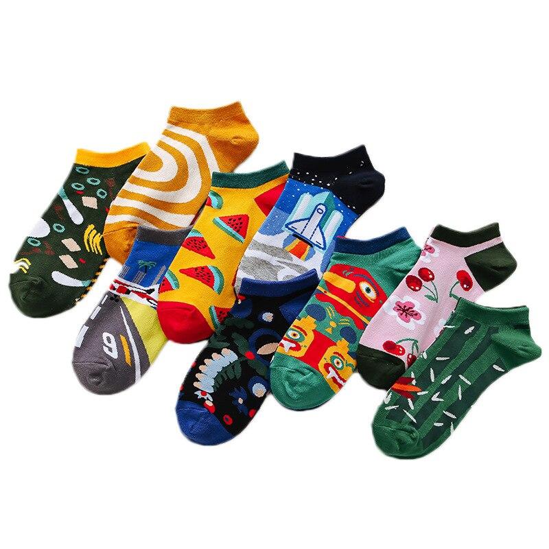 1Pair Male Boat Socks Women Mini Socks Cotton Unique Lovers Cartoon Funny Cute Cool Unisex Socks Mid Length Asymmetric Socks