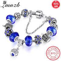 90% OFF! Original Authentische 925 Silber Krone Anhänger Charme Armbänder Europäischen Stil Kristall Perlen Armband Für Frauen Schmuck