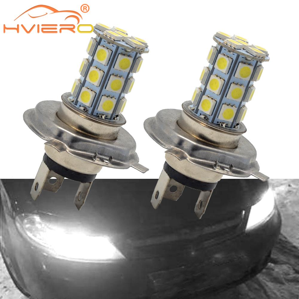 2X <font><b>H4</b></font> <font><b>Led</b></font> Lens <font><b>Car</b></font> Moto Motorcycle <font><b>Led</b></font> Fog Lamps HeadLamp 5050 27Led Pure Auto Light Headlight Parking Driving Lamp <font><b>Bulb</b></font> Dc 12v image