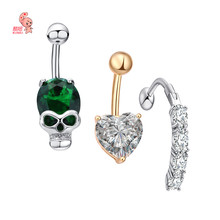 3PCS/lot 316L medical stainless steel environmental protection copper set belly piercing()