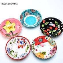 1 pc estilo nórdico 8 polegadas bola tigelas cerâmica redonda flores padrão casa tigelas de arroz salada frutas tigela grande cozinha utensílios de mesa