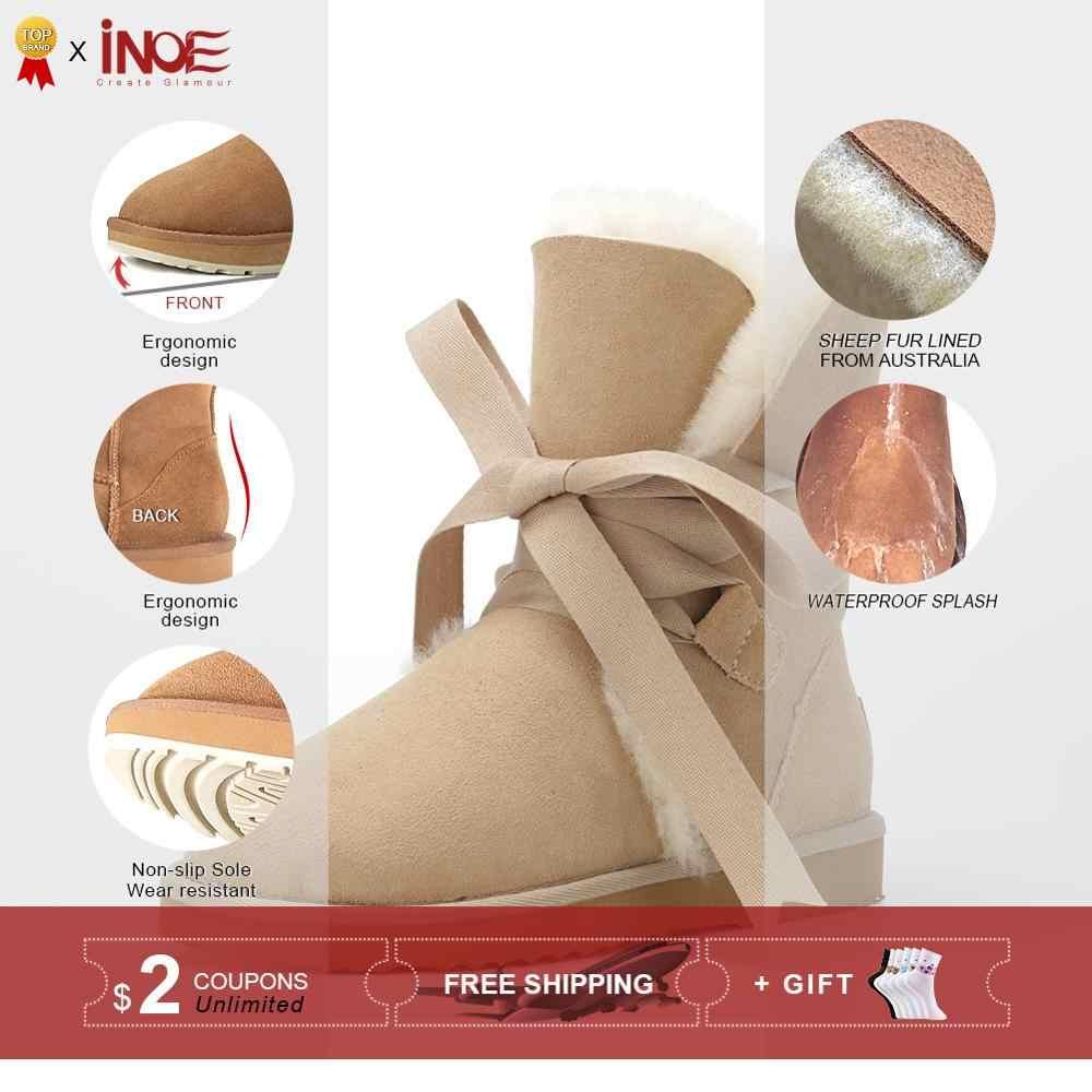 INOE Koyun Derisi Süet Deri Moda Kızlar Dantel-up Orta buzağı Kısa Kışlık Botlar Kadınlar için Koyun Kürk Astarlı kar Botları sıcak ayakkabı