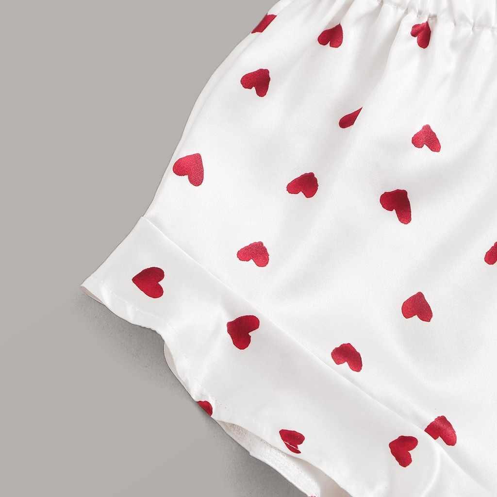 잠옷 여성 잠옷 잠옷 착용 여성 심장 인쇄 새틴 캐미솔 잠옷 프릴 반바지 란제리 세트