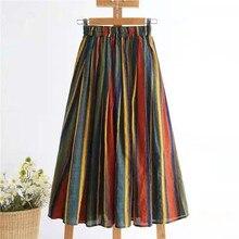 2021 New Arrival Summer Women Casual Elastic Waist A line Skirts All matched Striped Cotton Linen High Waist Skirt W215