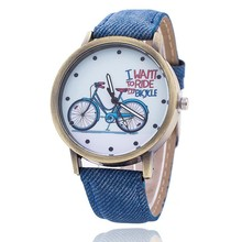 Hot Clock Luxury Fashion Canvas womens Bike Analog Watch Wrist Watches high quality Casual Electronics Wristwatches watch ladies