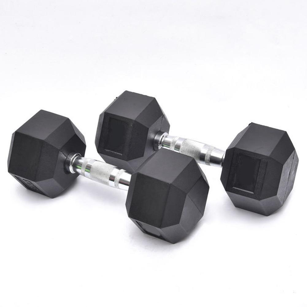 Fitness Workout Dumbbells Cast Iron Coated Rubber-covered Weights Lifting Exercise Hexagon Dumbbells Gym Home Equipment Tools