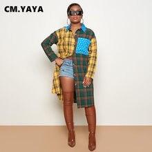 センチメートル。yaya女性パッチワークチェック柄長袖ボタンアップターンダウンネックロングシャツ & ブラウストップス冬spingストリート