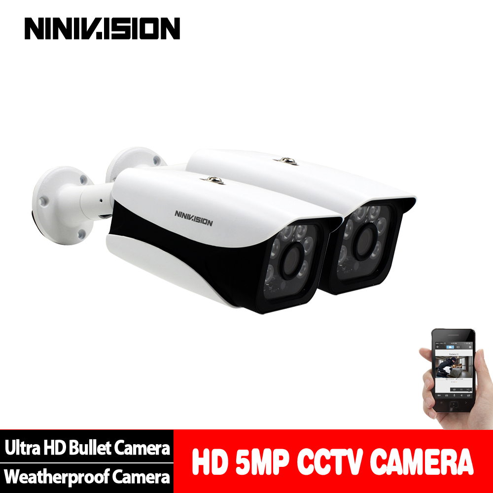 NINIVISION 5.0MP CCTV Camera 5MP 3.6MM HD Lens 90 Degree Panoramic AHD Camera Night Vision Waterproof Outdoor 2PCS Bullet Camera