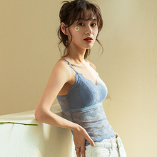 Lace Halter Waistcoat for Women Anti-Exposure Strapless with Bra Pad Sexy Back Top Brassiere Underwear Lingerie Wire knot back halter top