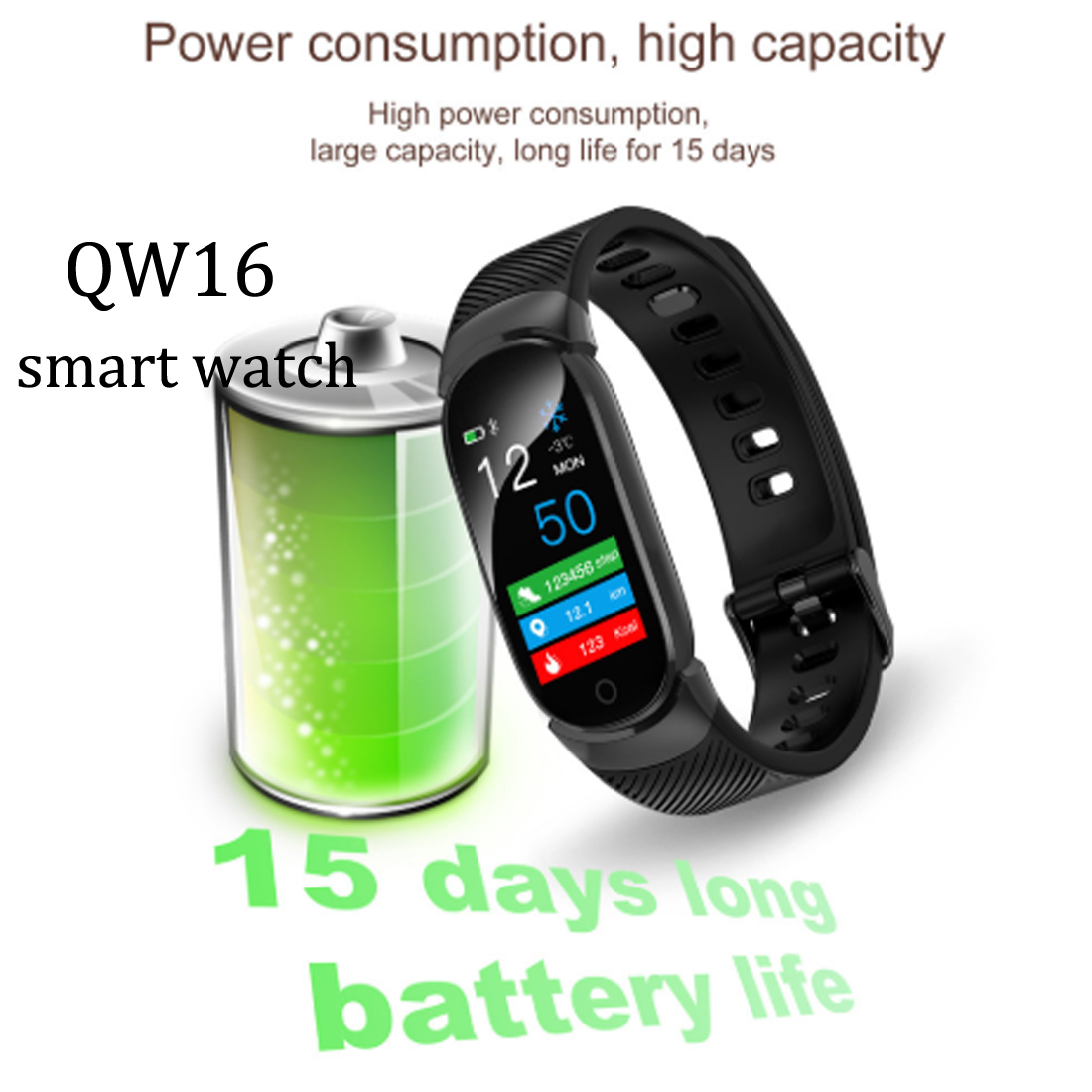 QW16 Smart Watch Bluetooth Sport Smart Clock Pedometer Heart Rate Blood Pressure Monitor Fitness Tracker For IOS And Android