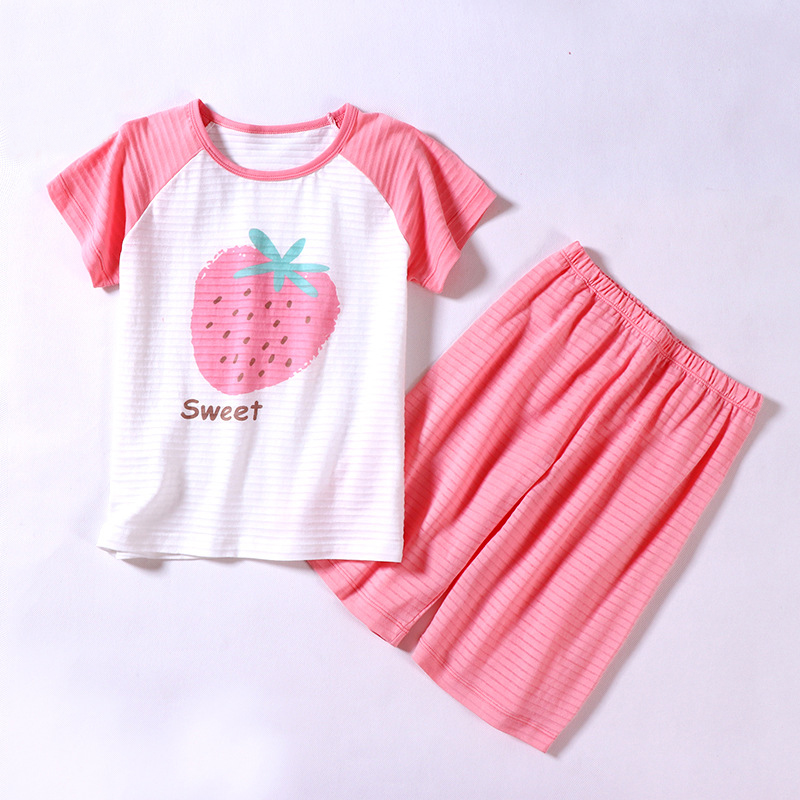 Children Summer T-shirt Strawberry Printed Short Sleeve Clothing Set Girls Home Wear Sets Leisure Wear For Kids 2-10Yrs