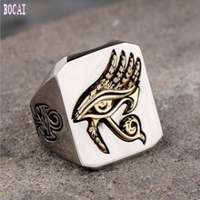 Original design explosion models Horus eye ring titanium steel hot sale network red retro hip hop jewelry