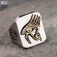 Original design explosion models Horus eye ring titanium steel hot sale network red retro hip hop jewelry(China)