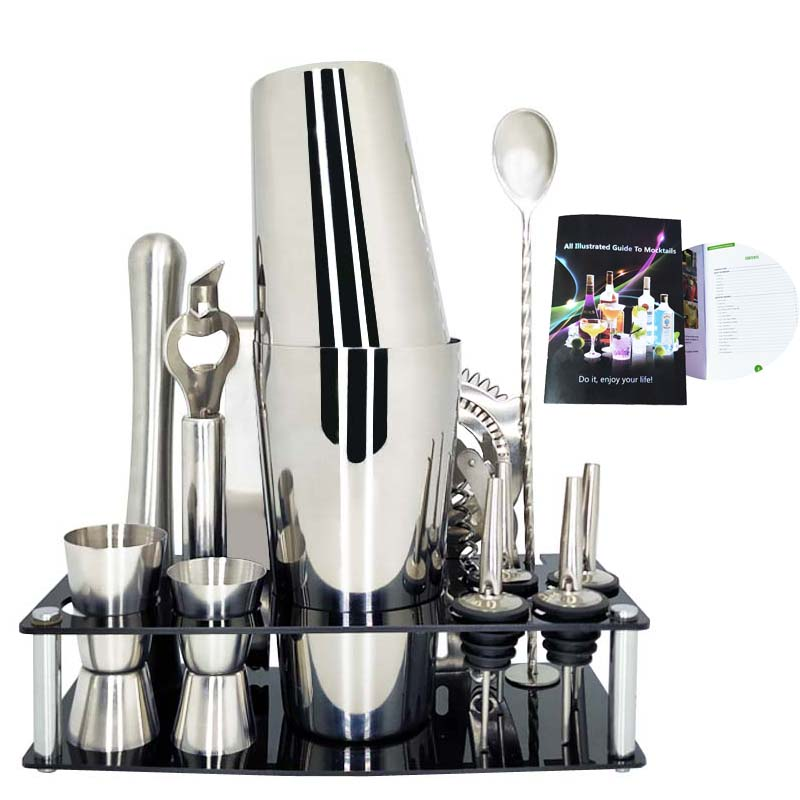 750 600ml Stainless Steel Cocktail Shaker Mixer Kit Bar Bartender Shaker Spoon Pourerstraw Ice Tong Tools Set With Wine Rack