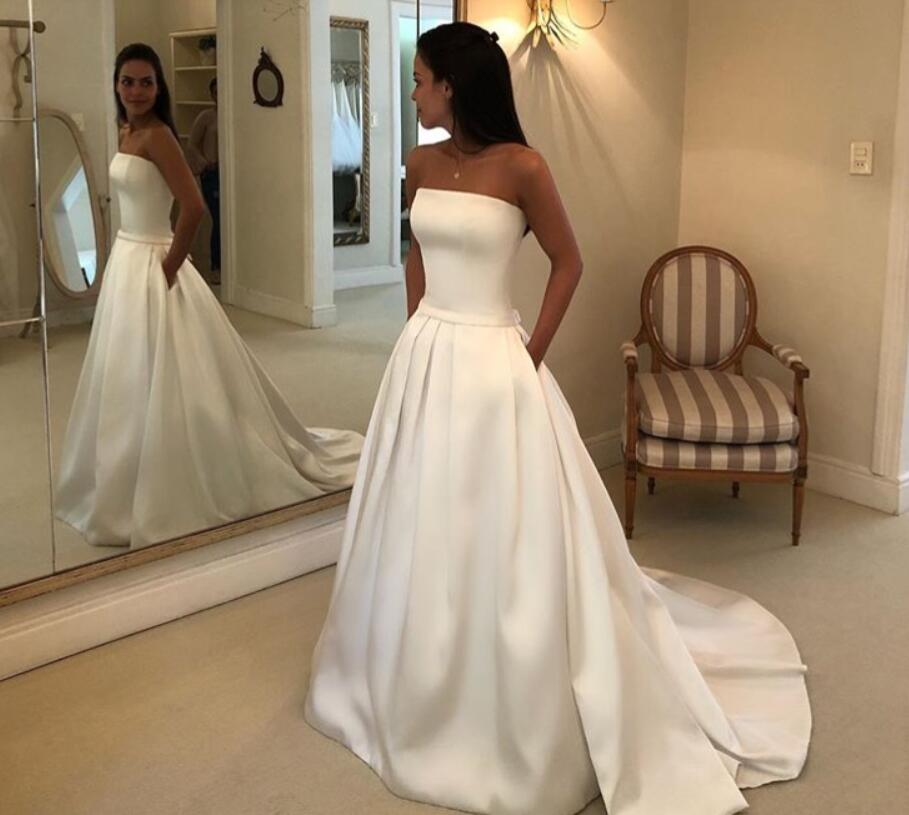 Simple Boho A-line Wedding Dresses 2019 Strapless Satin Draped Bridal Dress Bow Sashes Vestidos De Noiva Bride Dresses Cheapest
