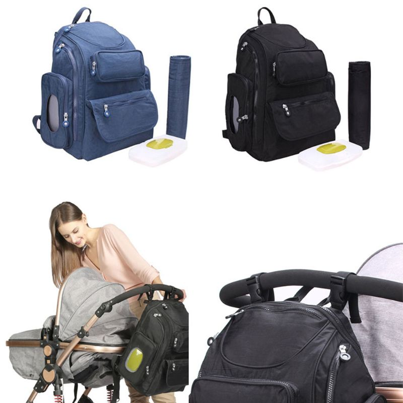 Baby Nappy Changing Bag Diaper Backpack With Changing Mat, Wet Wipes Box Backpack Travel For Mum & Dad