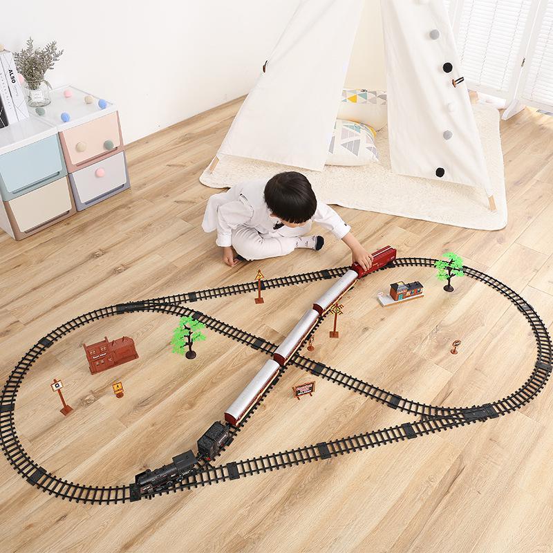 143 Масштаб литье под давлением электрический игрушечный поезд рельсы динамический паровой Поезд Модель Железнодорожный Набор Профессиональная Автомагнитола Автомобильная цепь детская игрушка