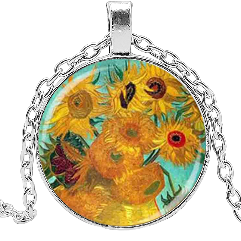 2019 Hot Oil Painting Pattern Classic Fashion Necklace Sunflower Painting Glass Cabochon Necklace Art Decoration in Pendant Necklaces from Jewelry Accessories