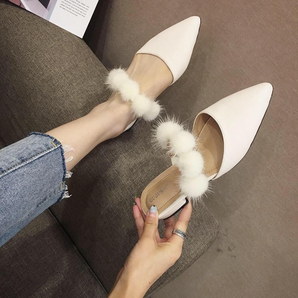 Slippers Fur Mules Womens Shoes Pointed Toe Slides Thin Heels Plush 2019 Sliders Flat Cover PU Basic Rome Shoes Thin Heels Flat
