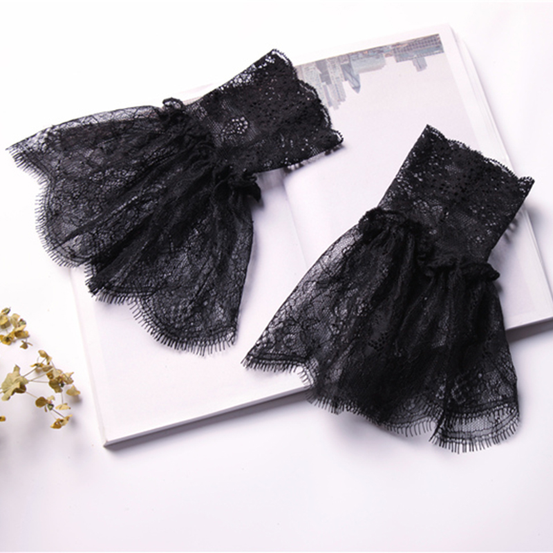 Decorated Cuff Fake Sleeves Autumn Winter Wild Sweater Decorative Sleeves Flounces Buttoned Wrist Sleeves Lace Pleated Wrist