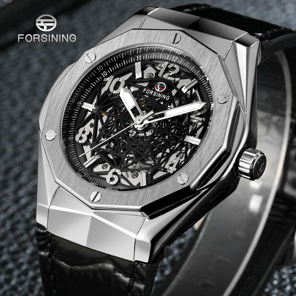 FORSINING fashion casual men's watch black spider web hollow dial silver case black leather strap automatic mechanical watch