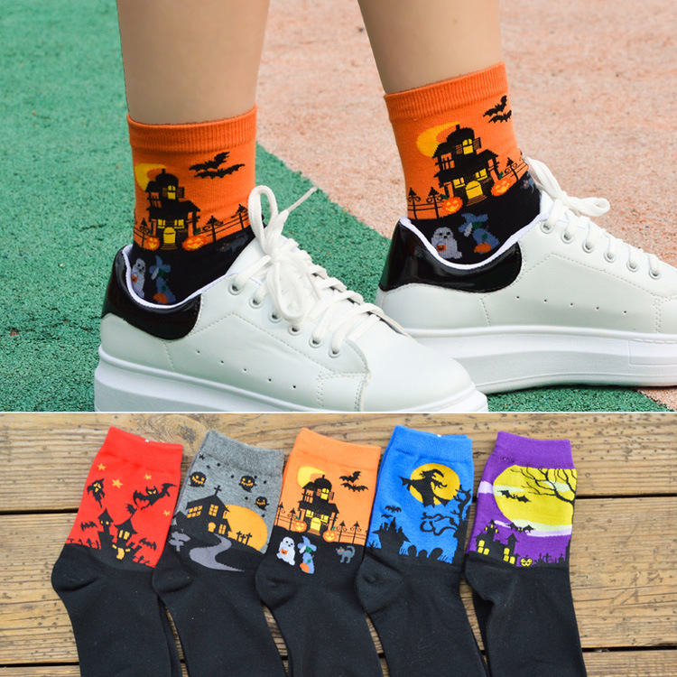 Halloween Creative Socks Harajuku Lovers Cotton Witch Ghost Pattern Autumn Winter High Quality Cosplay Performance Accessories