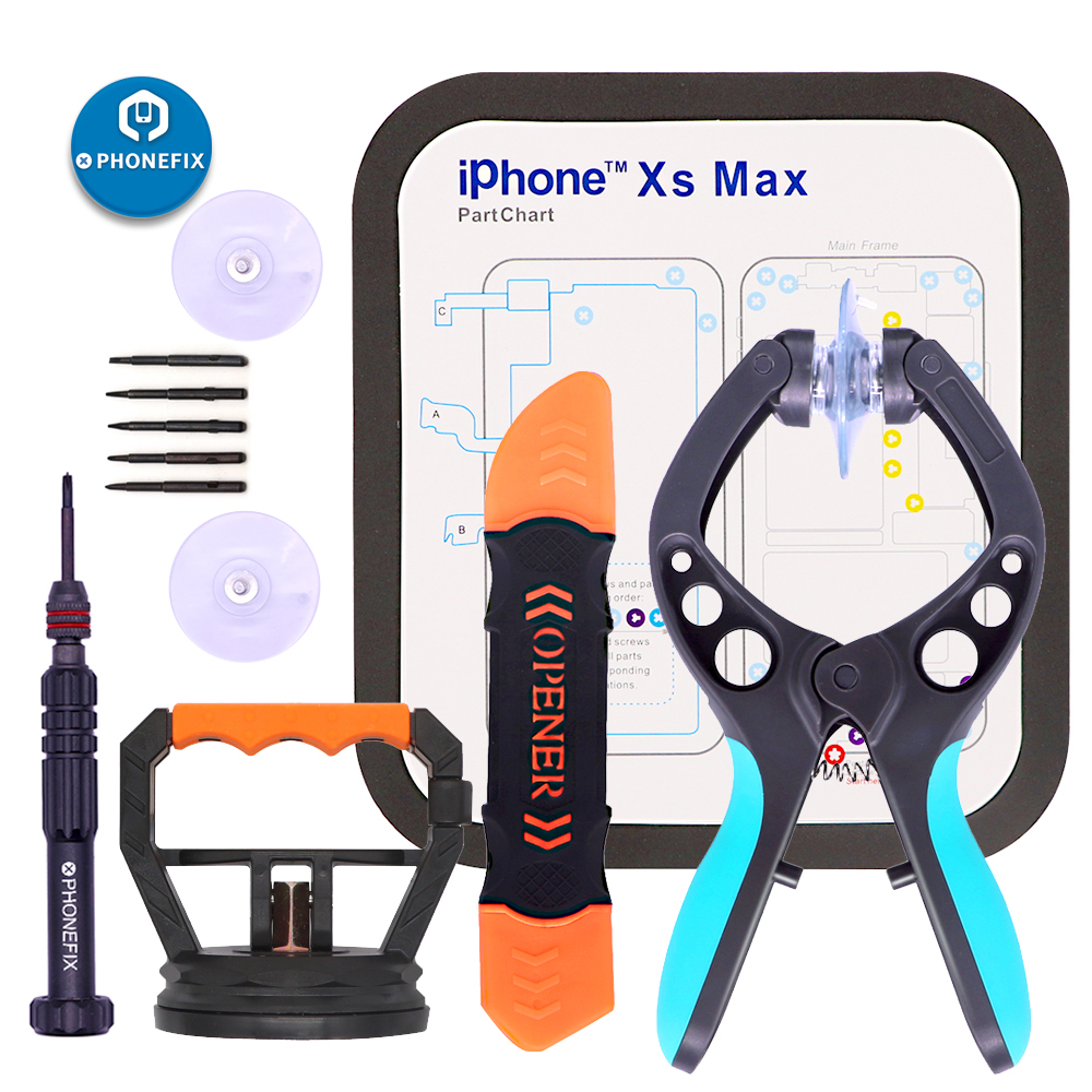 PHONEFIX Mobile Repair Phone Opening Screen Repair Kit With Magnetic Mat Pliers Screwdriver Set For IPhone 6 7 8 X Repair Tools