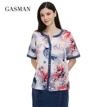 GASMAN New Summer women's t-shirt 2021 Quality Breathable vintage Top female Denim O neck Buckle short sleeve Blouses 0137