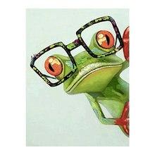 Grenouille verte avec lunettes diamant peinture ronde pleine perceuse Nouveaute bricolage mosaïque broderie 5D point de croix dessin animé motif Animal