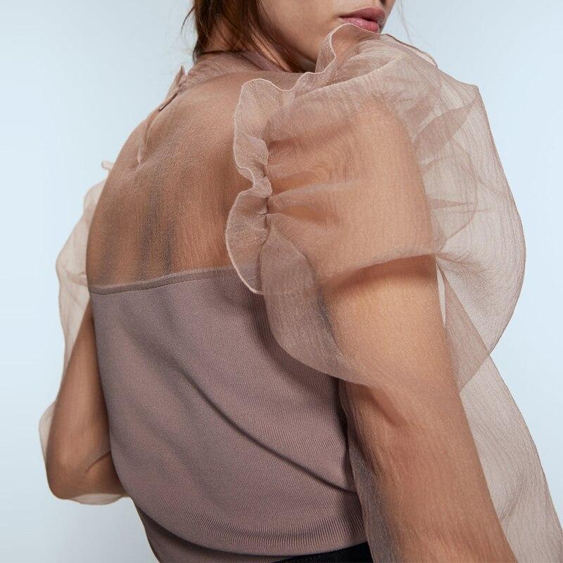 Organza Puff sleeve Women sweater Sexy 2019 Autumn Fashion Ruffles Patchwork Knitted pullover tops Spring Slim Pink YNZZU YT744
