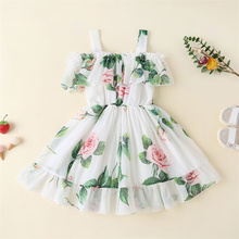 2-7Y Toddler Kids Girls Princess Birthday Party Dress Fashion Off Shoulder Floral Print Dresses Stylish Costume For Children