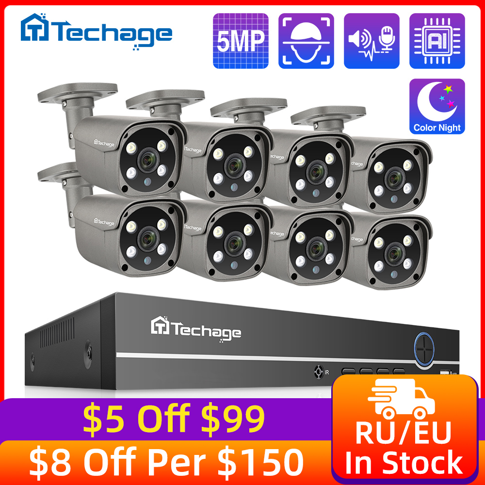 Techage Surveillance-Camera-Set Nvr-Kit HDD Video Cctv-Security-System POE Outdoor Two-Way