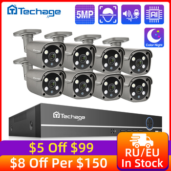 Techage 8CH 5MP HD POE NVR Kit CCTV Security System Two Way Audio AI IP Camera Outdoor P2P Video Surveillance Camera Set 3TB HDD