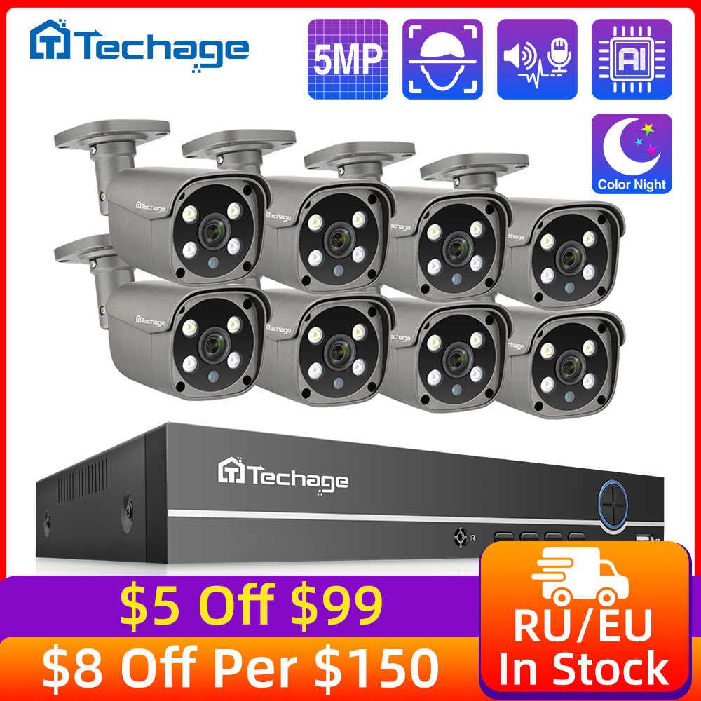Techage 8CH 5MP HD POE NVR Kit système de sécurité CCTV deux voies Audio AI Face détecter caméra IP caméra de Surveillance vidéo extérieure ensemble de caméras